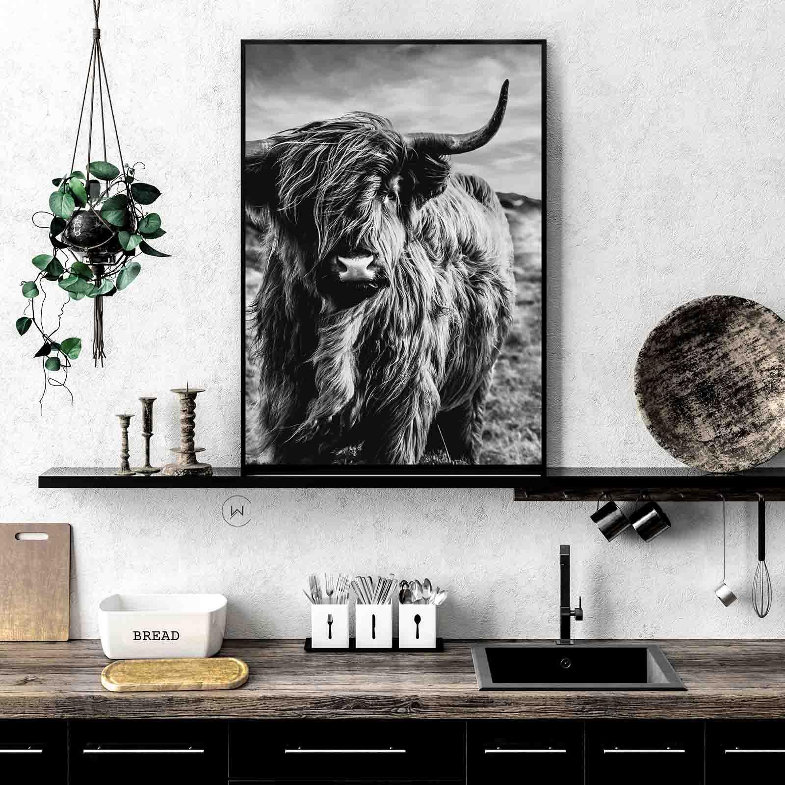 Schotse Hooglander Zwart Wit Unieke Wanddecoratie Wallcatcher