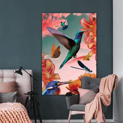 Pimp je slaapkamer met een vrolijke poster 'hummingbirds'