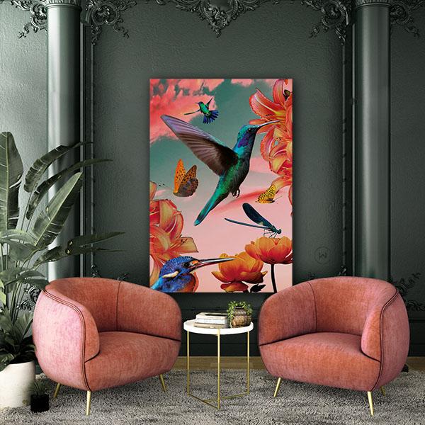 Vrolijke wanddecoratie met kolibries, bloemen en vlinders