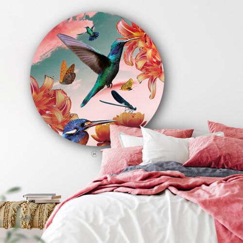 Vrolijk je slaapkamer op met de muurcirkel hummingbirds