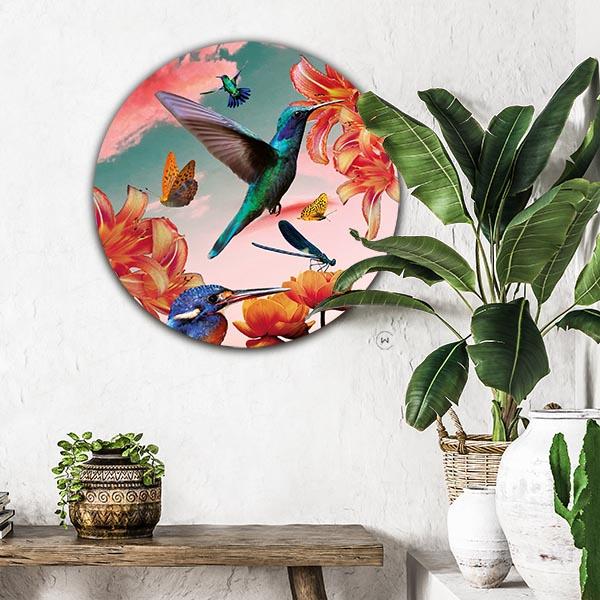 Muurcirkel in minimalistisch interieur 'hummingbirds with flowers'