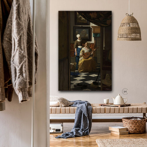De liefdesbrief, oud meesterwerk in een modern interieur