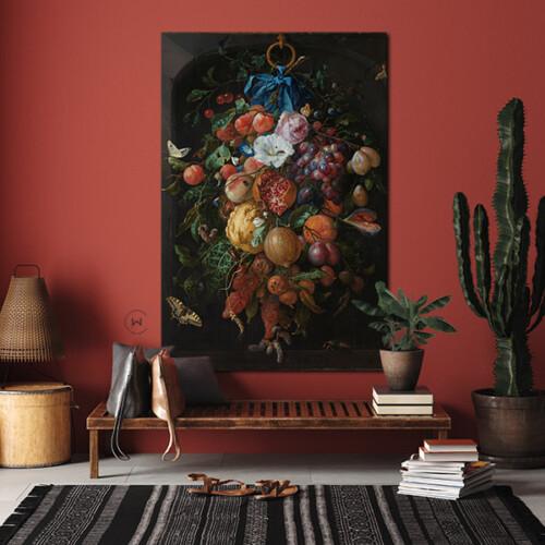 Festoen van vruchten en bloemen op luxe materiaal