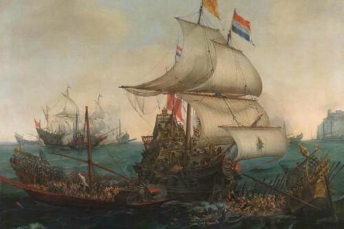 Hollandse schepen overzeilen - Hendrik Cornelisz