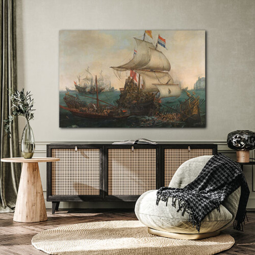 Schilderij hollandse schepen overzeilen