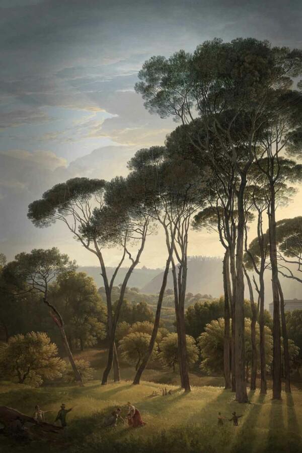 Italiaans landschap met parasoldennen van Hendrik Voogd