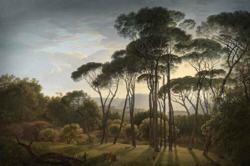 Italiaans landschap met parasoldennen - Hendrik Voogd