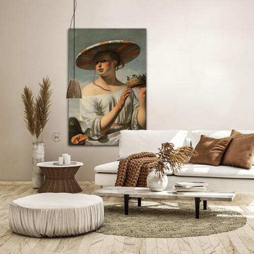 Meisje met de brede hoed kunstwerk aan de muur