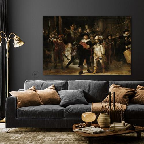 Kunstwerk De Nachtwacht in de woonkamer