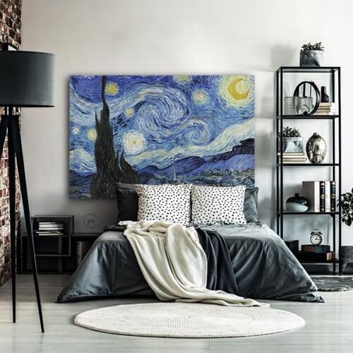 De Sterrennacht van Vincent van Gogh in de slaapkamer