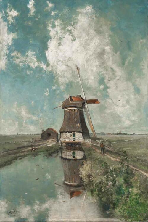 Een molen aan de poldervaart van Paul Joseph Costantin Gabriël