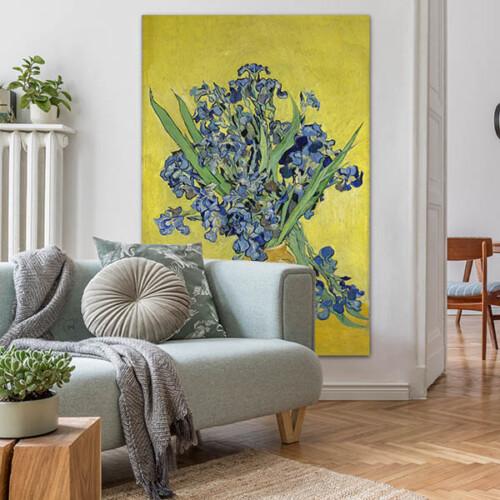 Van Gogh kunstwerk Irissen in de woonkamer