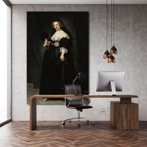 Portret van Oopjen Coppit - Rembrandt van Rijn voor op kantoor