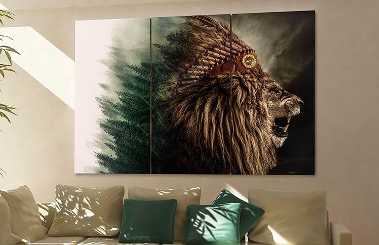 houten wanddecoratie native lion